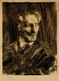 portrait of a man facing left by william merritt chase