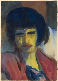 frauenbildnis (gelbes gesicht, rotes kleid) / portrait of a woman (yellow face, red dress) by emil nolde