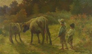 """two boys with cows """"coming home"""" by adam emory albright"""