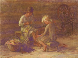 two girls with spinning wheel by adam emory albright