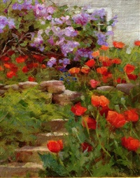 poppies & lilacs by kathy anderson