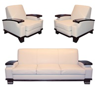 spectacular and extremely rare set including one pair of armchairs and one sofa, france by jacques adnet
