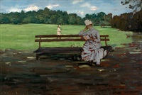 prospect park: brooklyn: a sketch (in the park) by william merritt chase