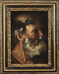 head of a classical poet (homer or socrates ?) by pier francesco mola