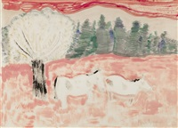 horses in a landscape by milton avery