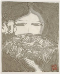 woman with flowered fan by walasse ting