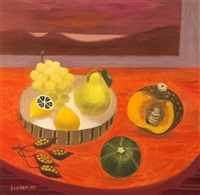 still life with pear, melon and grape by mary fedden