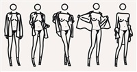 woman taking off a man's shirt in five stages by julian opie