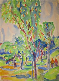 """rückseite des aquarells """"landschaft mit bäumen"""" by ernst ludwig kirchner"""