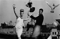 rooftops: dress by ceil chapman and collar by lilly dache, vogue by bert stern