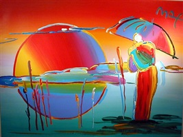 buddha moon, 1999 (monk sunrise) by peter max