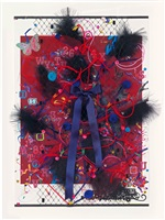untitled (red with pink letters and black feathers) by fiona rae