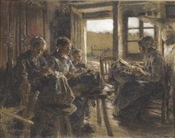 the lacemakers of the vosges (les dentellières des vosges) by léon augustin l'hermitte