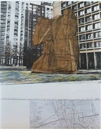 wrapped sylvette (project for picasso's sylvette at washington square village - bleecher str. and houston str.) / mappe: hommage à picasso by christo and jeanne-claude