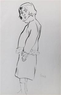 frau mit pelzverbrämter jacke (woman with fur-trimmed jacket) by george grosz
