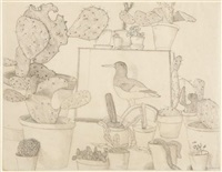 cacti and stuffed bird by lucian freud
