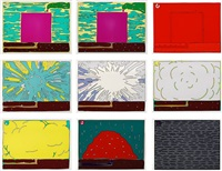 exploding cell (set of 9 works) by peter halley