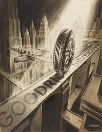 b.f. goodrich silvertowns tire ad illustration by jose arentz
