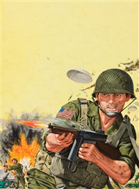 combat scene, men's magazine illustration by bruce minney