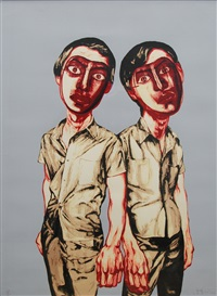 mask series (two men) by zeng fanzhi
