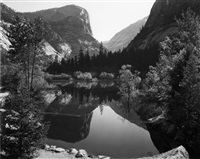 mirror lake, morning, yosemite national park by ansel adams