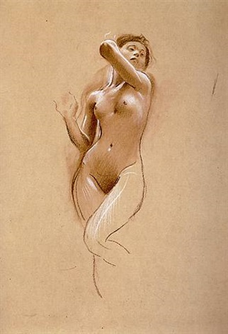 study of a standing female nude by adolf hiremy-hirschl