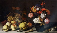 a still-life of fruit, flowers and shells with a lizard, caterpillar and dragonfly by balthasar van der ast